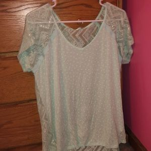 NWT Light Blue with White Polka Dots T Shirt
